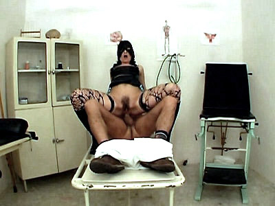Hot chick Lisa seems to be out of place in the clinic with her wearing her mask and net stockings Lisa wanted to have kinky sex with her doctor and her outfit will surely make him want to examine her pussy with his gloved finggers before sticking in his cock in her hole